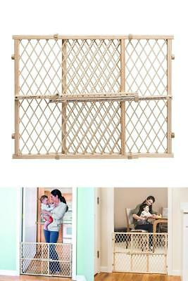 Gate Extra Tall Pet Door Fence Child Lock Wide Wood Baby Safety Tan Dog Barrier