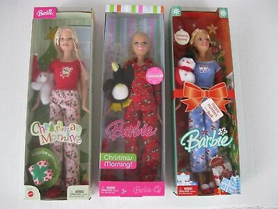 Christmas Morning Barbie Dolls-Lot of 3-With Ornaments-New