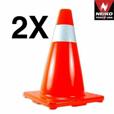"2 pcs Safety Traffic Cone 18"" inch with Reflective Caution Strips"