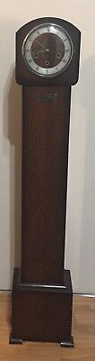 "British Edwardian Oak Case 8 Day Westminister Chimes Grandmother Clock GWO 52""H"