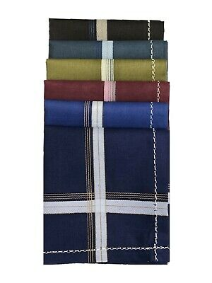 100% Cotton Mens Gents Handkerchiefs Hankies 42cm x 42cm 6pcs Dark colour pack