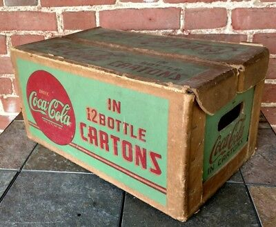 Vintage 1940's Coca-Cola waxed cardboard case for 12 bottle cartons -