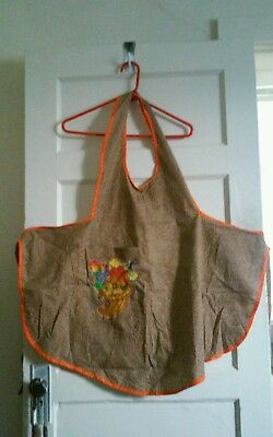 vintage homemade thanksgiving apron ..cute!! fits up to XL front pocket
