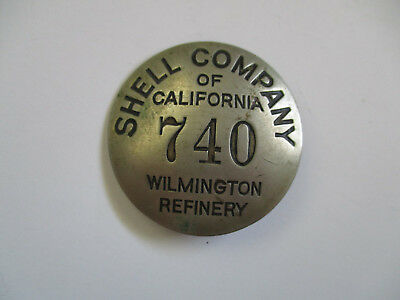 vintage 1930 Shell Company Gasoline Oil Gas Wilmington CA Employee ID Badge Pin