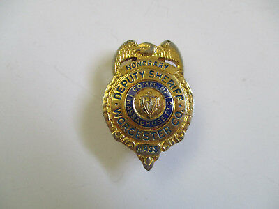 obsolete vitnage Worcester County Massachusetts Deputy Sheriff Police MINI badge
