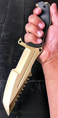 "11"" COUNTER-STRIKE CSGO GOLD TIGER HUNTSMAN KNIFE Hunting Bowie Survival CS:GO"