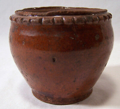"Antique Redware Stoneware Pottery Miniature Crock Pot 3"" x 3 1/2"""