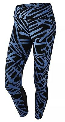 detailed look fbfcb cb78c NIKE Power Epic Lux Running Tights Women s Blue   Black Printed XL