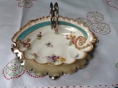 George Jones Crescent China Sauceboat/Shell Dish Daniel & Arter EPNS Stand c1890