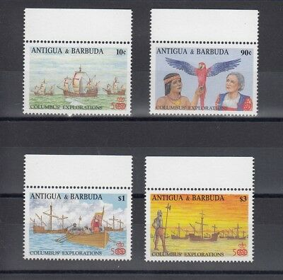 Timbre Stamp 4 Ile Antigua Y&t#1036-39 Bateau Colomb Neuf**/mnh-Mint 1988 ~A60