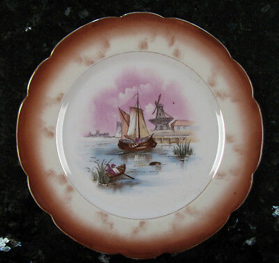 Imperial Karlsbad Decorative China Plate*Handpainted Windmills Sailboats Austria