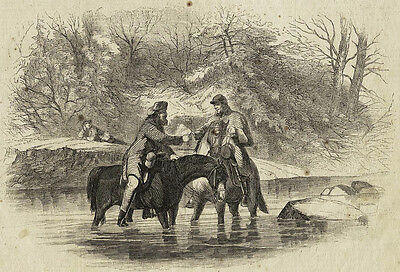 Friendly Meeting, Federal & Confederate Pickets, Rappahannock 1863 Antique Print