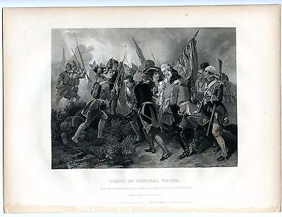 DEATH OF GENERAL WOLFE, Battle of Quebec KIA/French & Indian War, Engraving 1857