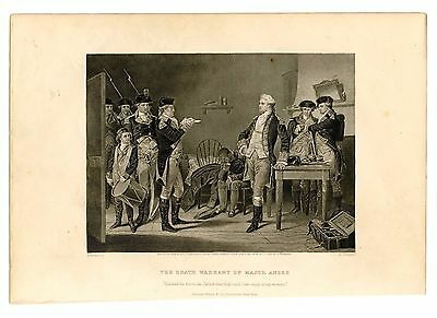 THE DEATH WARRANT OF MAJOR ANDRE, Benedict Arnold/Spy, Steel Engraving 1874