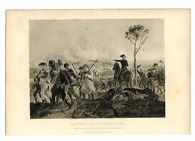BATTLE OF BENNINGTON, Revolutionary War/Vermont/New York, Steel Engraving 1874