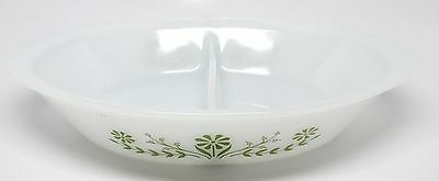 Vintage Glasbake Divided Casserole Dish with Green Flowers J2352 U.S.A.