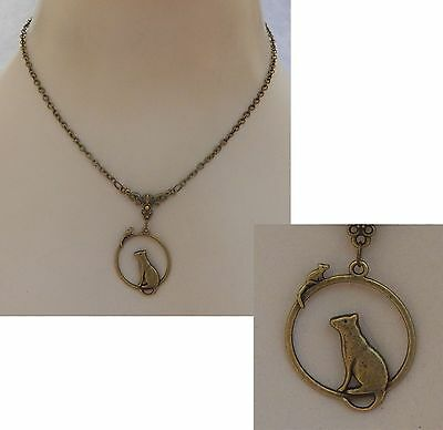 Gold Cat & Mouse Pendant Necklace Jewelry Handmade NEW Chain Adjustable