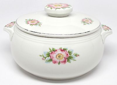 Vintage Hall China Rose White Covered Casserole Tab Handles Pink Roses #658