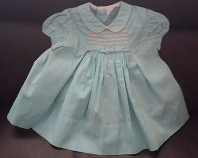 VINTAGE 1950's Mint Green Puff-Sleeved Baby's Dress with Smocking-6-9 months