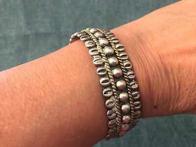 Native American Two-tone Sterling Silver cuff bracelet Great Price