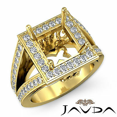 Diamond Engagement Pave Filigree Ring Princess Semi Mount 14k Yellow Gold 1Ct
