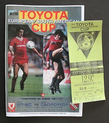1984 Toyota Cup Replica Programme & Ticket Independitent V Liverpool