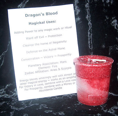 DRAGON'S BLOOD Candle CRYSTAL JOURNEY Candles POWER Protection Votive Magick