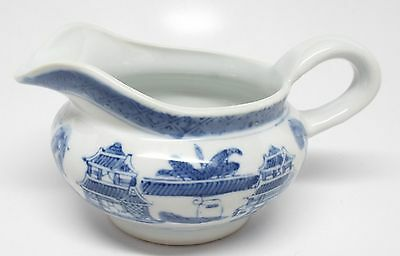 IDG - Blue & White Pagodas Blue Willow Small Pitcher / Large Creamer