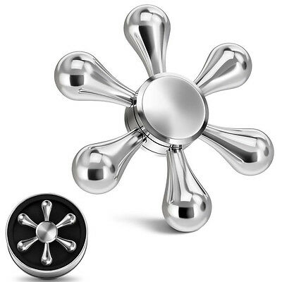 Fidget Hand Spinner Finger Toy EDC Focus ADHD Autism Stress Relief 6 Side Silver