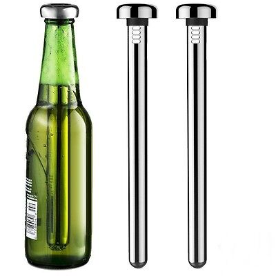 2Pcs Bar Beer Chiller Stick Stainless Steel Cooler Stick Wine Cooling Stick LF