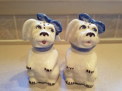 Vintage Shawnee Tooth Ache Standing Dog Blue Scarf Salt + Pepper Range Shakers