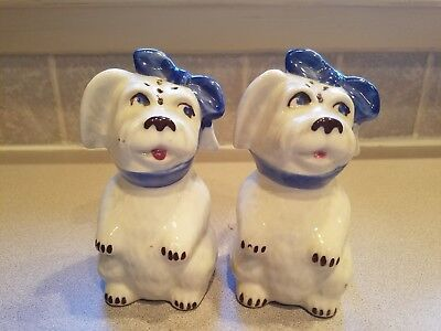 Vintage Shawnee Tooth Ache Standing Muggsy Dog Blue Scarf Salt + Pepper  Shakers