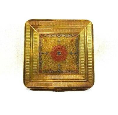 Vintage Brass Square 1950's Powder Compact