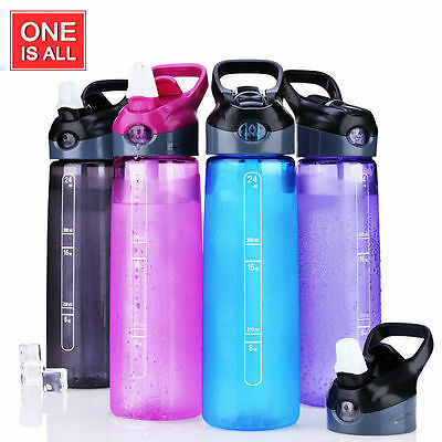 24 oz BPA Free Tritan Water Bottle Portable Sports Bottle with Straw Plastic Cup