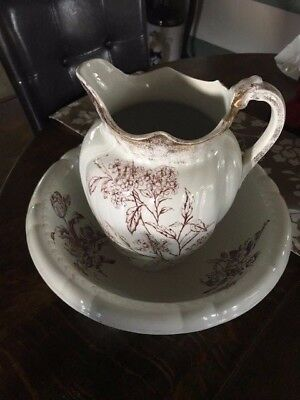 Antique Warwick China Vintage Wash Bowl Basin and Water Pitcher