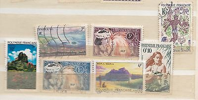 FRENCH POLYNESIA small selection stamps from album page mainly used