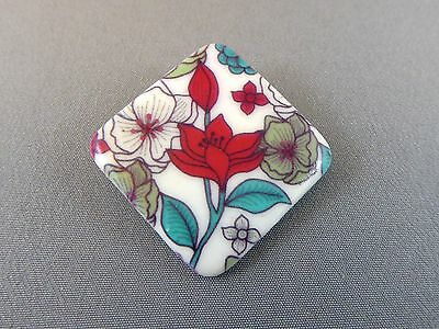 Brooch - Diamond Red Vintage Flower