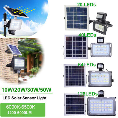LED Solar Floodlight PIR Motion Sensor Lamp Garden Security Lighting 10W 20W 30W