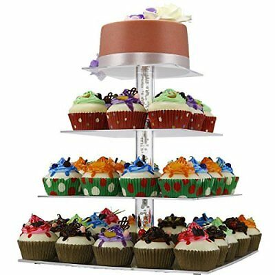 Tiered Cupcake Stand//Cupcake Tower COMINHKPR143104 Utenlid Acrylic 3-Tier Square Stacked Party Cupcake Stand with Stable Screw-On Gold Pillars