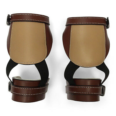 NEW Brown Leather SKID BOOTS for ROPING/REINING Padded SHOCK ABSORBING One-Size