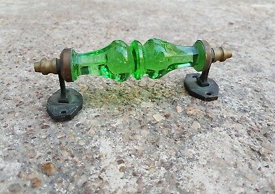Vintage Unique Green Cut Glass Victorian Style Door Handle