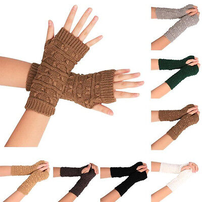 Fashion Women Men Knitted Arm Fingerless Winter Gloves Unisex Soft Warm Mitten