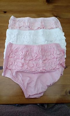 3 baby girls frilly pants/knickers 2 pink 1 white  size 3-6 months,brand   new