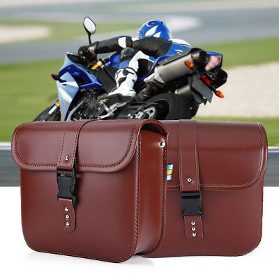 2Pcs Waterproof Brown Motorcycle PU Leather Saddle Bags Luggage Storage Pouch GL