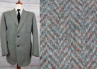 Vtg 40s 50s Green / Brown Herringbone Thick Heavy Harris Tweed Jacket -44R- CJ85