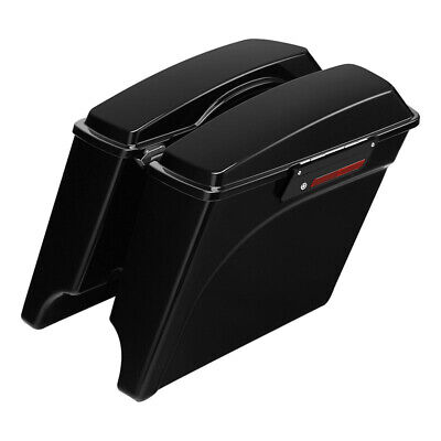 "Vivid Black 5"" Stretched Extended Hard Saddlebags For Harley Touring 1993-2013"