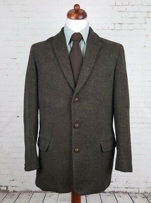 Vtg Mens Dark Green 1960s 3 Leather Button Harris Tweed Jacket Mod -40- EG48