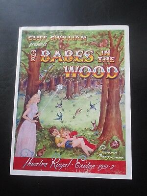 1951 Theatre Royal Exeter Devon Babes In The Wood Pantomime Programme