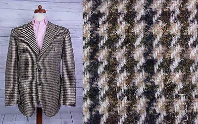 Vintage 2 Button Heavy Houndstooth Check Country Harris Tweed Jacket -42- DT55