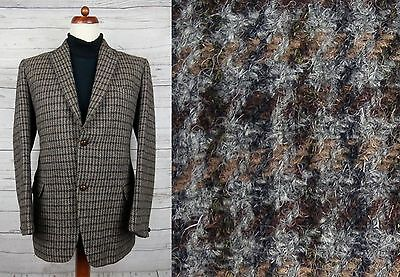 Vtg Single Breast 2 Button 1960s Country Check Harris Tweed Jacket -38- DI29
